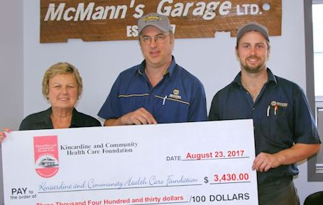 McMann's Garage donates almost $3,500 to Kincardine hospital foundation